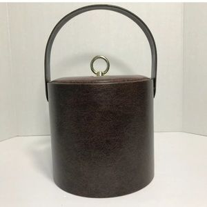 Other - Vintage Ice Bucket Brown Faux Leather Gold Handle